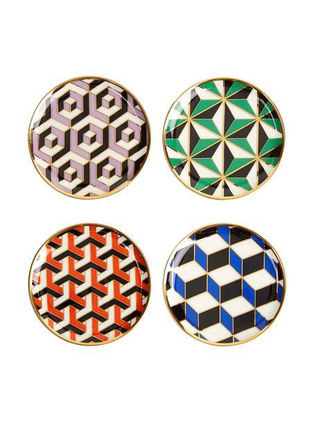 Set 4 sottobicchieri di design placcati oro Versailles, Porcellana, accenti placcati oro, Multicolore, accenti placcati oro, Ø 10 x Alt. 1 cm