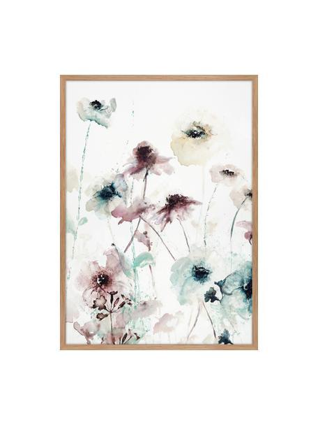 Gerahmter Leinwanddruck Flower Dance, Bild: Digitaldruck auf Leinen, Rahmen: Hochdichte Holzfaserplatt, Mehrfarbig, 50 x 70 cm