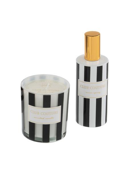 Komplet świecy i dyfuzora Club Couture, 2 elem. (kwiaty), Czarny, biały, odcienie złotego, Komplet z różnymi rozmiarami
