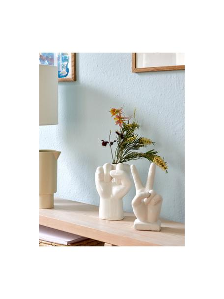 Decoratief object Hand, Keramiek, Wit, 10 x 22 cm