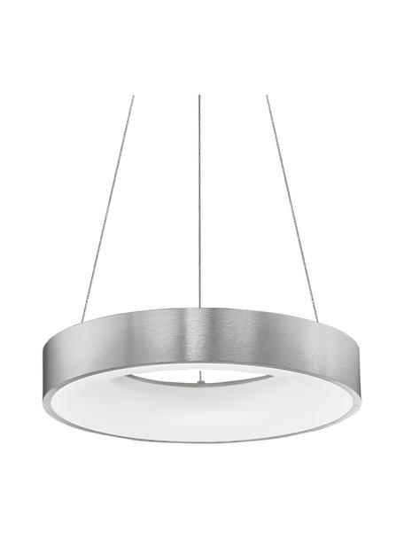 Dimbare LED hanglamp Rando in zilverkleur, Lampenkap: gecoat aluminium, Diffuser: acryl, Baldakijn: gecoat aluminium, Zilverkleurig, Ø 38 x H 6 cm