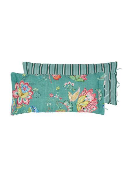 Baumwollperkal-Wendekissenbezug Jambo Flower mit dekorativen Schleifen, floral/gestreift, Webart: Perkal Fadendichte 200 TC, Grün, Mehrfarbig, 40 x 80 cm