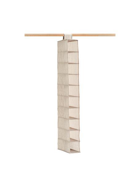 Hängender Schrank-Organizer Stripes mit 10 Fächern, 100% Polypropylen (Vlies), Beige, Cremeweiß, 30 x 129 cm