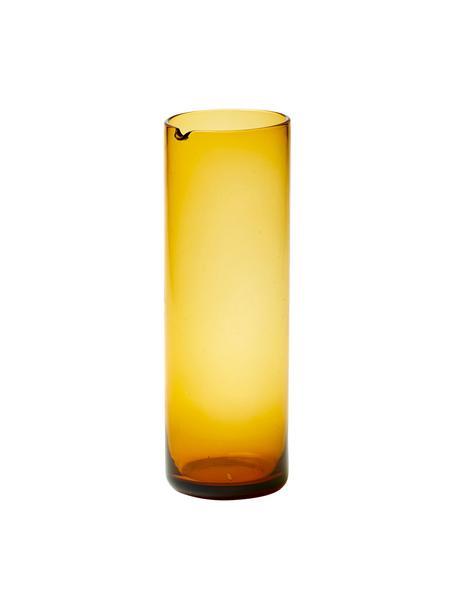Mondgeblazen glazen karaf Bloom in geel, 1 L, Mondgeblazen glas, Geel, Ø 8 x H 24 cm