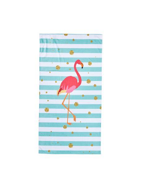 Strandtuch Case Flamingo, Rückseite: Frottier, Blau, Weiß, Pink, Goldfarben, 90 x 180 cm