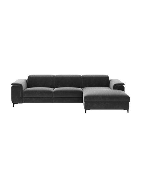 Sofa narożna z aksamitu z funkcją relaks Brito, Tapicerka: 100% aksamit poliestrowy,, Nogi: metal lakierowany, Szary, S 300 x G 170 cm