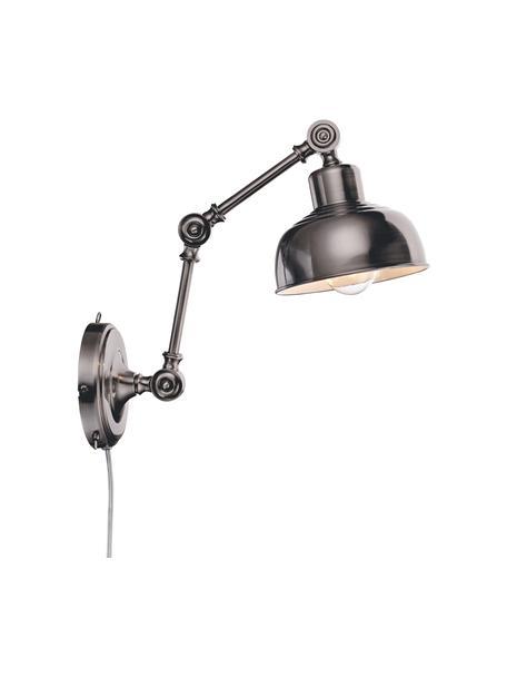 Aplique Grimstad, con enchufe, estilo retro, Pantalla: metal, Fijación: metal, Cable: plástico, Plateado con efecto envejecido, An 16 x Al 22 cm