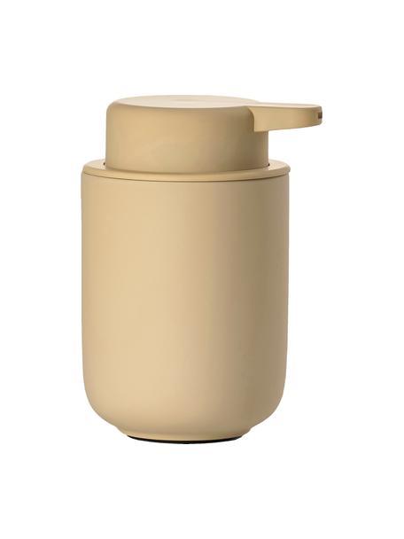 Dozownik do mydła z kamionki Ume, Kamionka z powłoką Soft-touch (tworzywo sztuczne), Odcienie piaskowego, Ø 8 x W 13 cm