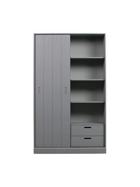 Armadio grigio con anta scorrevole Move, Legno di pino verniciato, Grigio, Larg. 120 x Alt. 200 cm