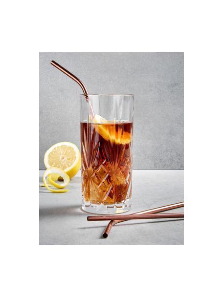 Set 4 cannucce ramate con spazzolino Manhattan Lounge, Acciaio inossidabile, materiale sintetico, Ramato, Lung. 22 cm