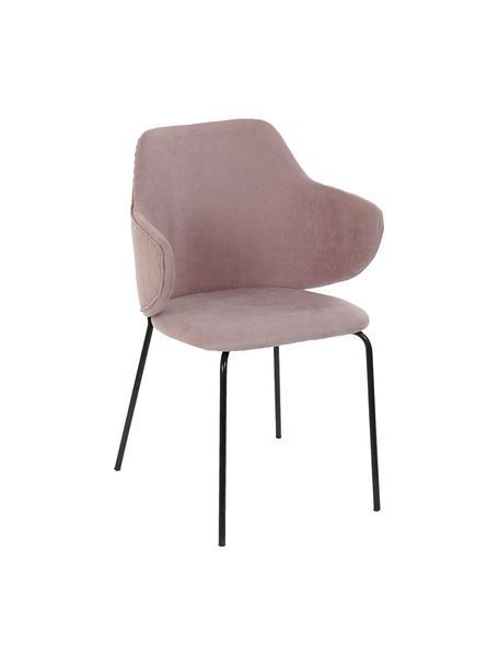 Krzesło z podłokietnikami Debbie, Tapicerka: 100% poliester, Nogi: metal powlekany, Blady różowy, S 58 x G 58 cm