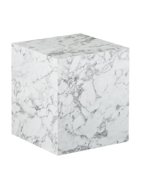 Mesa auxiliar en aspecto mármol Lesley, Tablero de fibras de densidad media(MDF), recubierto en melanina, Blanco veteado brillante, An 45 x Al 50 cm