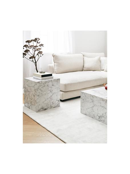 Mesa auxiliar en look mármol Lesley, Tablero de fibras de densidad media(MDF), recubierto en melanina, Blanco veteado brillante, An 45 x Al 50 cm