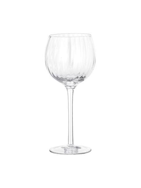 Wijnglazen Astrid met groefstructuur, 6 stuks, Glas, Transparant, Ø 10 x H 22 cm