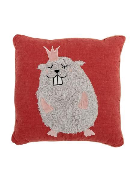 Cuscino reversibile Hamster, Rivestimento: 70% cotone, 30% poliester, Rosso, grigio, salmone, Larg. 38 x Lung. 38 cm