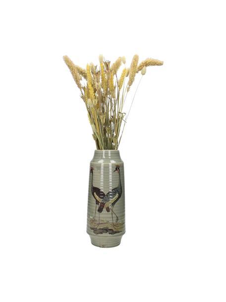 Vaso grande decorativo Crane, Gres, Grigio, multicolore, Ø 13 x Alt. 30 cm