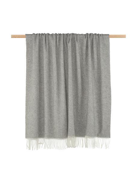 Manta de lana merino Alison, 80%lana merino, 20%nylon, Blanco crudo,gris claro, An 140 x L 200 cm