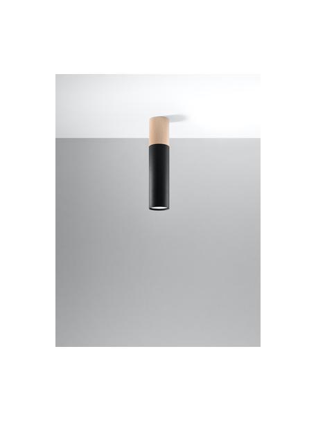 Foco en madera Paul, Pantalla: acero recubierto, Negro, marrón, Ø 8 x Al 30 cm