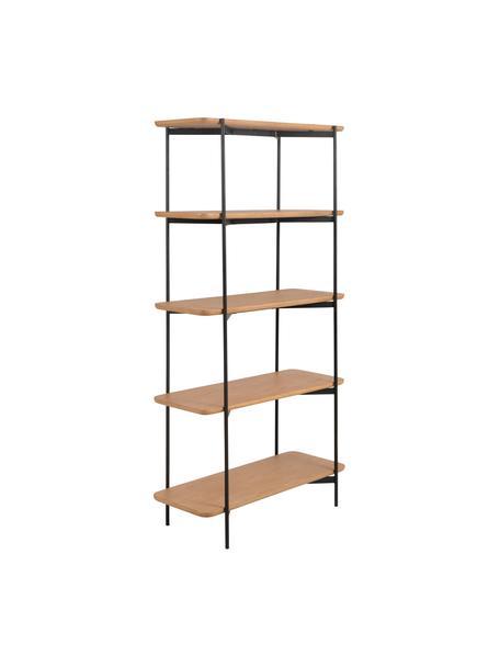 Libreria in legno e metallo Easy, Ripiani: pannello di fibra a media, Struttura: metallo rivestito, Nero, marrone, Larg. 90 x Alt. 175 cm