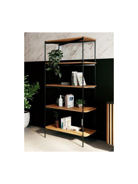 Estantería de madera y metal Easy, Estante: tablero de fibras de dens, Estructura: metal recubierto, Negro, marrón, An 90 x Al 175 cm