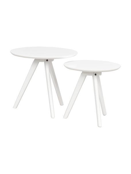 Set de mesas auxiliares Yumi, 2uds., Tablero: fibras de densidad media , Patas: madera de caucho maciza y, Blanco, Set de diferentes tamaños