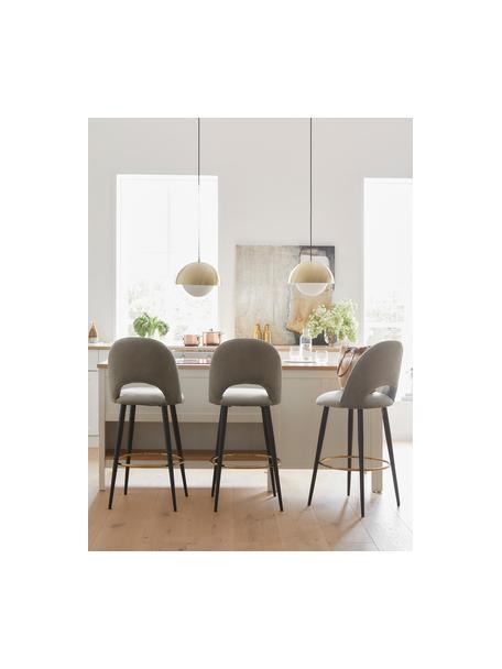 Lámpara de techo Lucille, Anclaje: metal cepillado, Cable: cubierto en tela, Latón, blanco, Ø 35 x Al 30 cm