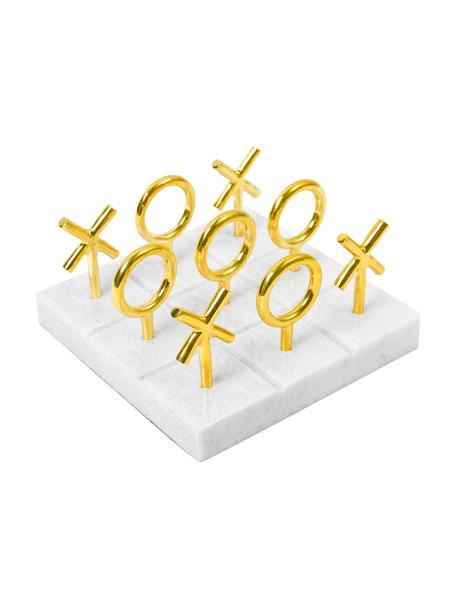 Gioco da tavolo di design in marmo Tic Tac Toe, Elementi del gioco: ottone Presa di corrente: bianco, Larg. 17 x Alt. 10 cm