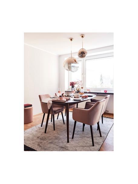 Fluwelen armstoel Nora met houten poten, Bekleding: polyester fluweel, Poten: eikenhout, gebeitst, Fluweel roze, poten donkerbruin, 58 x 84 cm