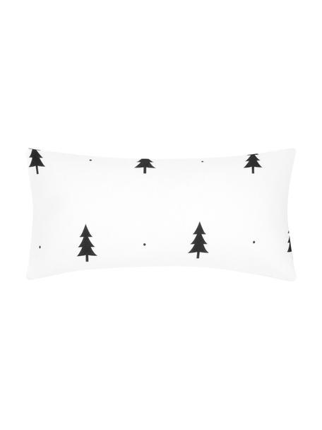 Poszewka na poduszkę z flaneli X-mas Tree, 2 szt., Biały, czarny, S 40 x D 80 cm
