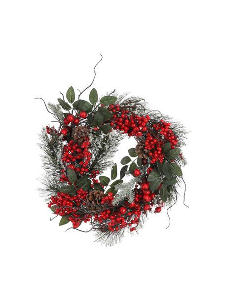 Künstlicher Weihnachtskranz Jerry Ø 40 cm, Kunststoff, Grün, Rot, Braun, Ø 40 cm
