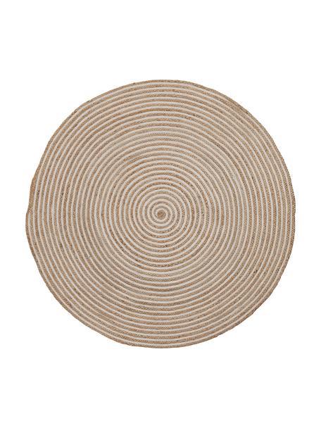 Tappeto rotondo in juta color beige/bianco con motivo a spirale Samy, 60% juta, 40% cotone, Juta, bianco latteo, Ø 100 cm (taglia XS)