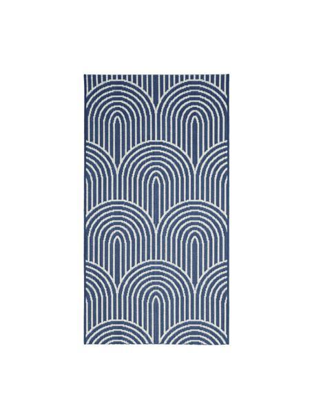 In- & outdoor vloerkleed Arches in blauw/wit, 86% polypropyleen, 14% polyester, Blauw, wit, B 80 x L 150 cm (maat XS)