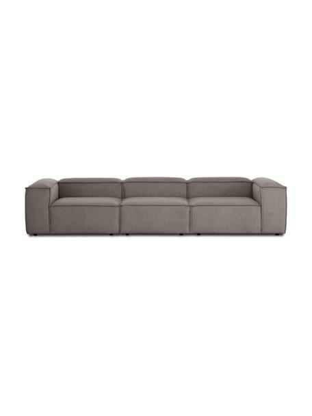 Sofa modułowa ze sztruksu Lennon (4-osobowa), Tapicerka: sztruks (92% poliester, 8, Stelaż: lite drewno sosnowe, skle, Nogi: tworzywo sztuczne Nogi zn, Sztruksowy brązowy, S 327 x G 119 cm