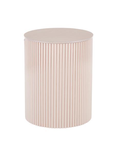 Drewniany stolik pomocniczy z miejscem do przechowywania Nele, Płyta pilśniowa (MDF) z fornirem z drewna jesionowego, Blady różowy, Ø 40 x W 51 cm