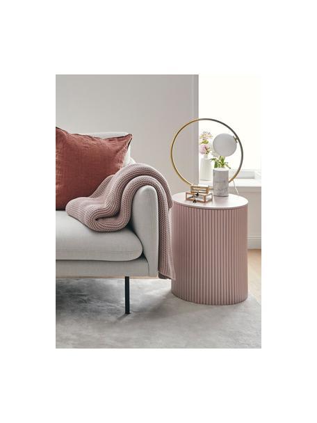 Stolik pomocniczy z drewna z miejscem do przechowywania Nele, Płyta pilśniowa (MDF) z fornirem z drewna jesionowego, Blady różowy, Ø 40 x W 51 cm