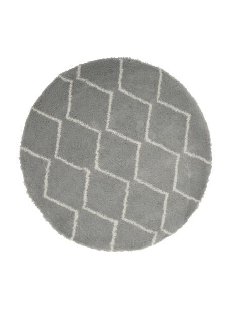 Hoogpolig vloerkleed Velma in grijs/crèmewit, Bovenzijde: 100% polypropyleen, Onderzijde: 78% jute, 14% katoen, 8% , Grijs, crèmewit, Ø 150 cm (maat M)