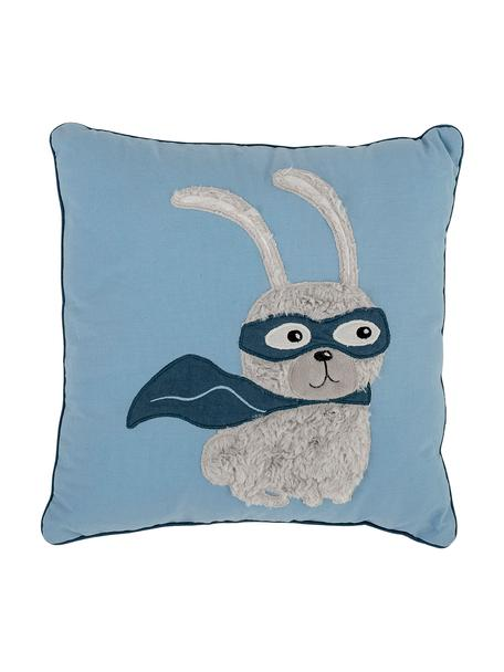 Cuscino con imbottitura con coniglietto Hero, Rivestimento: 70% cotone, 30% poliester, Blu, Larg. 40 x Lung. 40 cm