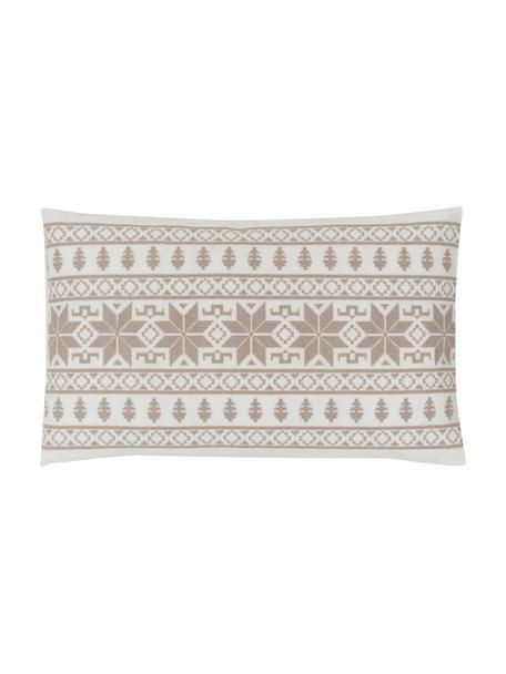 Bestickte Kissenhülle Orkney mit Norweger-Muster, 100% Baumwolle, Beige, 30 x 50 cm