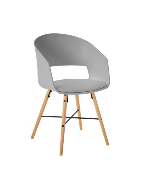 Krzesło z podłokietnikami z tapicerowanym siedziskiem Luna, 2 szt., Nogi: drewno bukowe, lakierowan, Szary, S 52 x G 52 cm
