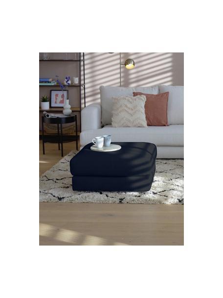 Sofa-Hocker Tribeca in Dunkelblau, Bezug: 100% Polyester Der hochwe, Gestell: Massives Buchenholz, Füße: Massives Buchenholz, lack, Webstoff Dunkelblau, 80 x 40 cm