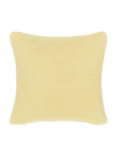 Dzianinowa poszewka na poduszkę z bawełny organicznej Adalyn, 100% bawełna organiczna, certyfikat GOTS, Jasny żółty, S 40 x D 40 cm