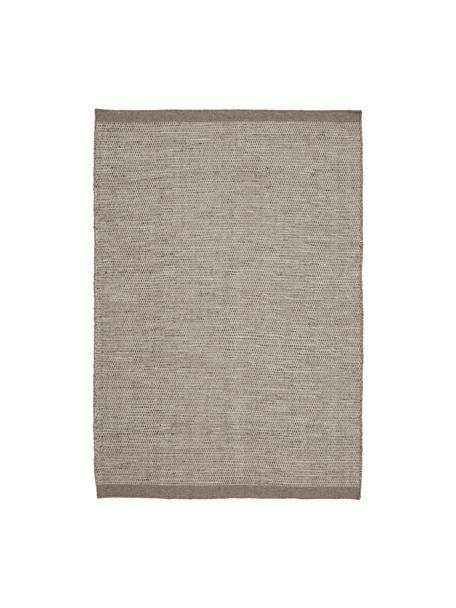 Tappeto di lana Asko tessuto a mano in tonalità grigio, Vello: 90% lana, 10% cotone, Retro: cotone, Grigio chiaro, grigio, Larg. 140 x Lung. 200 cm