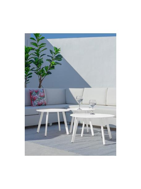 Ogrodowy stolik pomocniczy Marzia, Stal epoksydowana, Biały, Ø 70 x W 40 cm