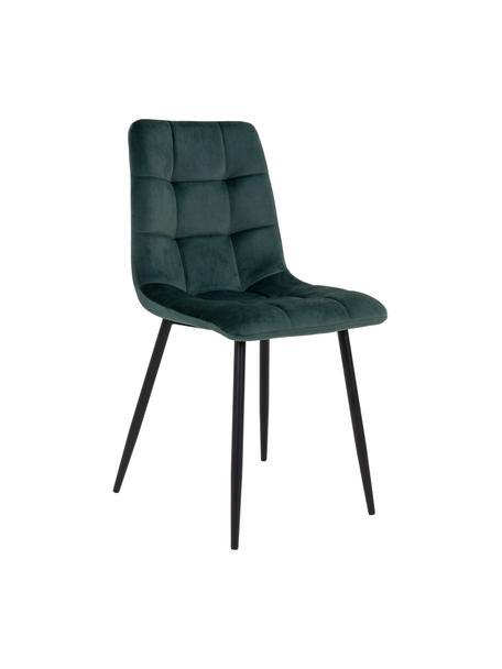 Krzesło tapicerowane z aksamitu Middleton, Tapicerka: aksamit poliestrowy, Nogi: metal powlekany, Ciemny zielony, czarny, S 44 x G 55 cm