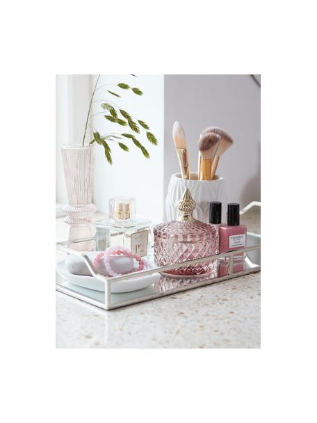 Bote decorativo Miya, Vidrio, Rosa transparente, dorado, Ø 9 x Al 11 cm