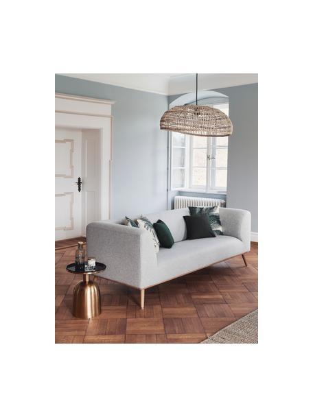 Sofa Archie (3plazas), Tapizado: 100%lana 30.000ciclos , Estructura: madera de pino, Patas: madera de roble aceitada, Tejido gris claro, An 222 x F 90 cm