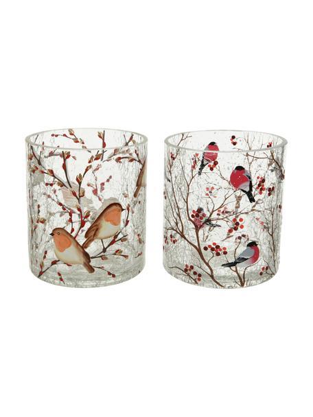 Teelichthalter-Set Birds, 2-tlg., Glas, Transparent, Mehrfarbig, Ø 9 x H 10 cm