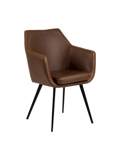 Sedia in similpelle con braccioli Nora, Rivestimento: pelle ecologica (poliuret, Gambe: metallo rivestito, Cognac, nero, Larg. 58 x Prof. 58 cm
