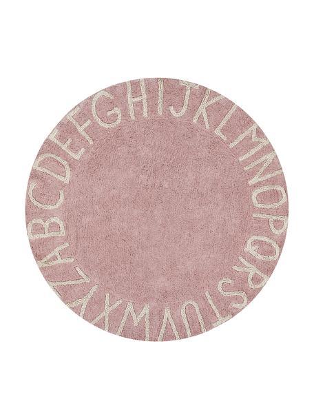 Alfombra lavable redonda con letras de diseño ABC, Parte superior: 97%algodón, 3%fibras mi, Reverso: algodón reciclado, Rosa, beige, Ø 150 cm (Tamaño M)
