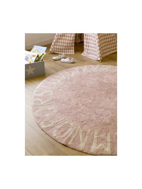 Alfombra lavable redonda con letras de diseño ABC, Algodón reciclado (80%algodón, 20%otras fibras), Rosa, beige, Ø 150 cm (Tamaño M)